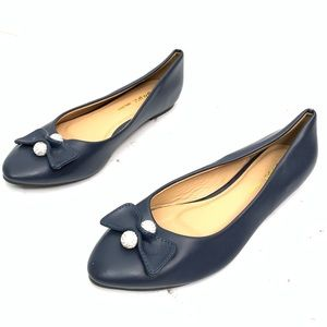 Zara Basic   Navy Bow Point Flats Womens Sz 9